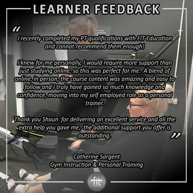 Learner feedback - Catherine Sargent