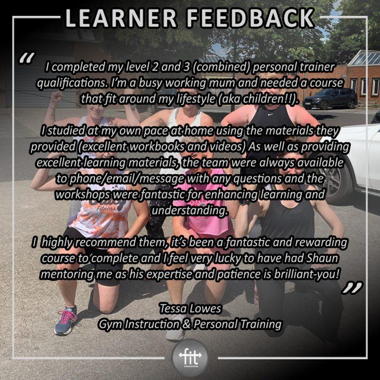 Learner feedback - Tessa Lowes