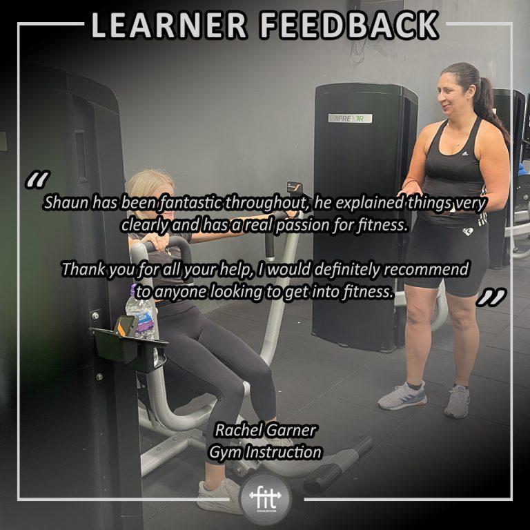 Learner feedback - Rachel Garner